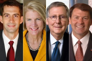 From left, Rep. Tom Cotton (R-Ark.), Rep. Shelley Moore Capito (R-W.Va.), Sen. Mitch McConnell (R-Ky.) and former Gov. Mike Rounds (R-S.D.) are responsible for Republican gains in the U.S. Senate. (Photos public domain)